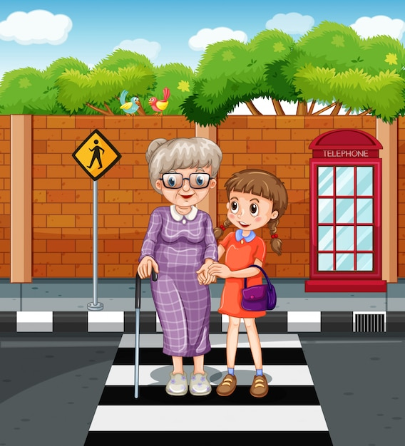 Girl and old lady crossing the road Free Vector
