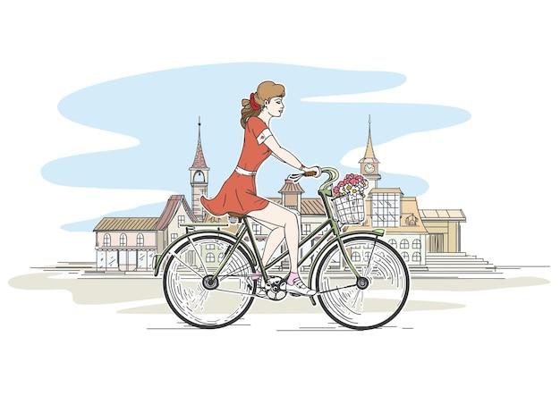 自転車の女の子 無料ベクター