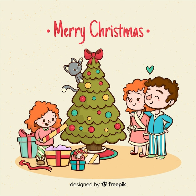 Girl opening presents christmas background Free Vector