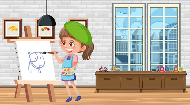 Girl painting on canvas in the house Premium Vector