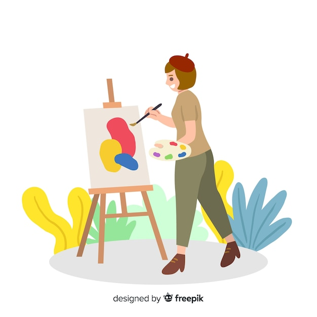 Girl painting on a canvas Free Vector