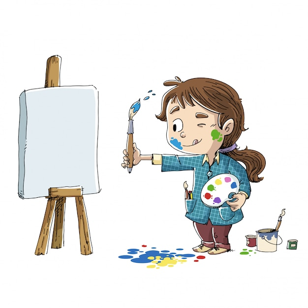 Girl painting a picture Premium Vector