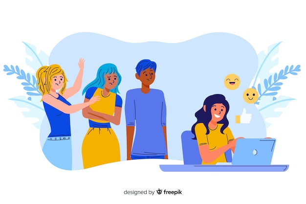 Girl not paying attention to her friends concept illustration Free Vector