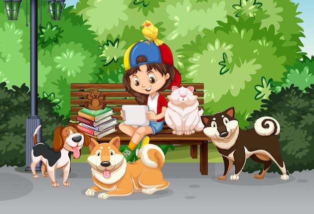 Girl and pet in the park Free Vector
