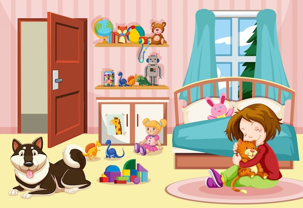 Girl and pets in bedroom Free Vector