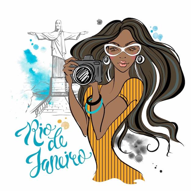 Girl photographer in rio de janeiro. travelling to brazil. Premium Vector