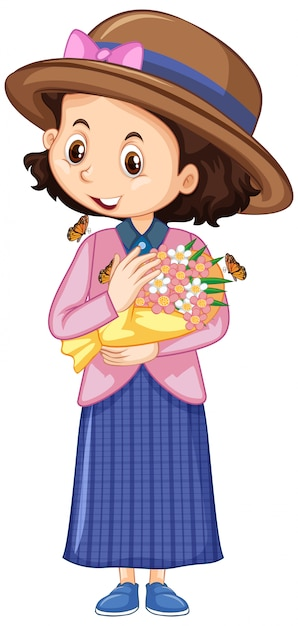 Girl in pink shirt with flowers on white Free Vector