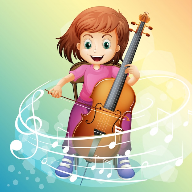 Girl playing cello on the chair Premium Vector
