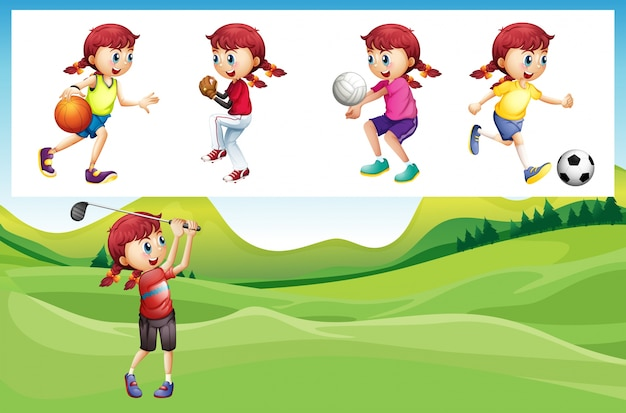 Girl playing golf and other sports\ illustration