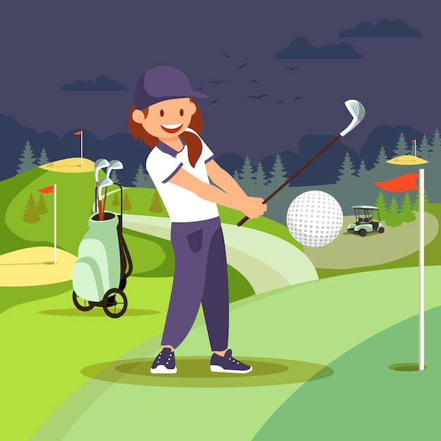 Girl playing golf at nigh course Premium Vector