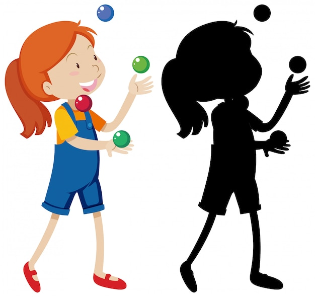 Girl playing many balls with its silhouette Free Vector