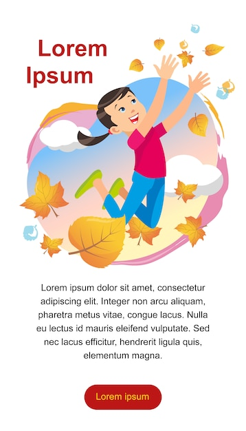 Girl playing in the park throwing up leaves Free Vector