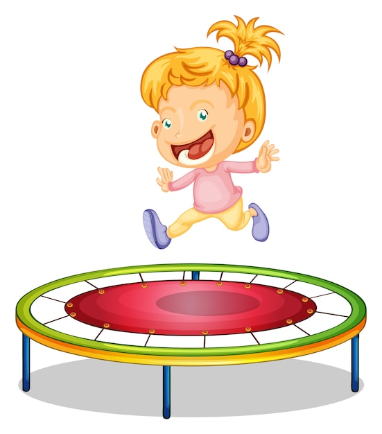 A girl playing trampoline Free Vector