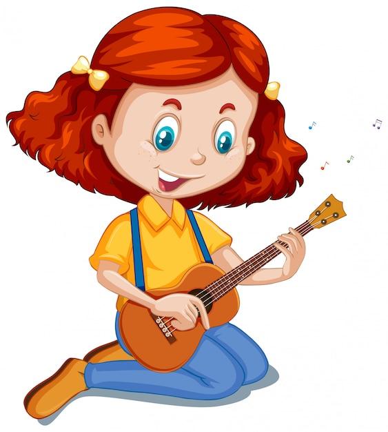 Girl playing ukulele on white Free Vector