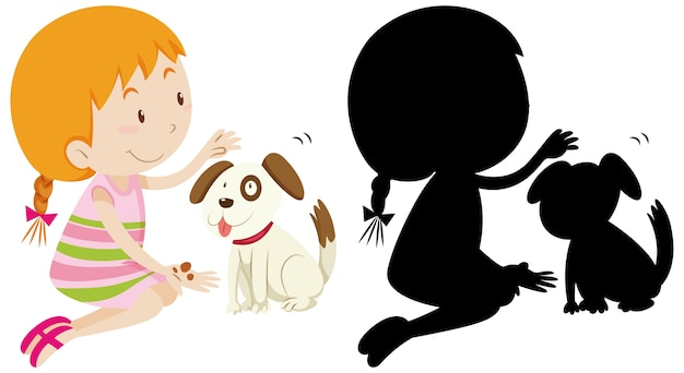 Girl playing with cute dog with its silhouette Free Vector