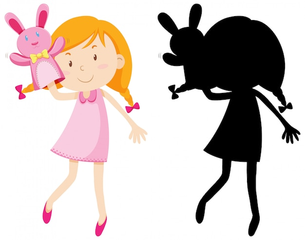 Girl playing with doll hand in colour and silhouette Free Vector