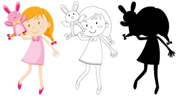 Девушка играет с куклой рукой в цвет и силуэт и контур Бесплатные векторы