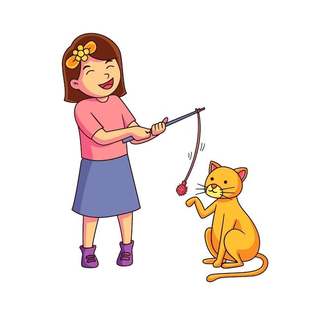 彼女の猫と遊ぶ少女 無料ベクター