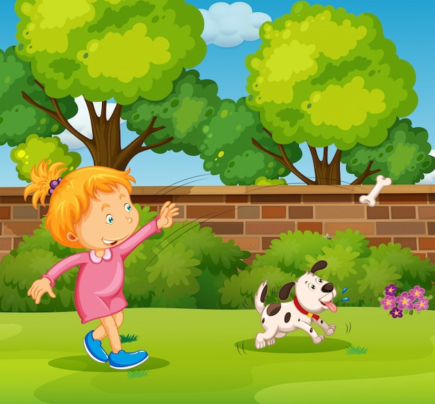 Girl playing with pet dog in the yard Free Vector