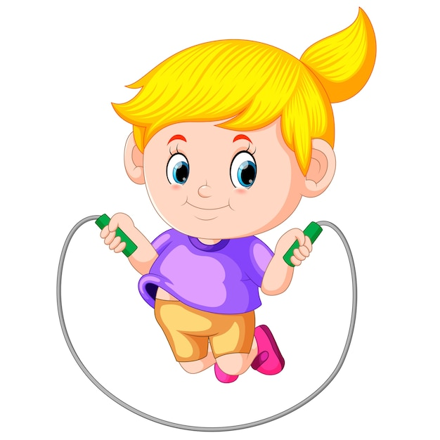 Girl plays skipping Premium Vector