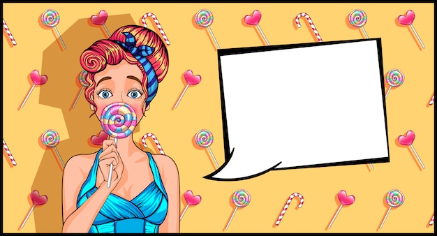 Girl in pop art style with a lollipop. Premium Vector