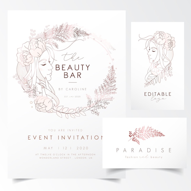 Girl portrait with leaves and flowers for event invitation template Premium Vector