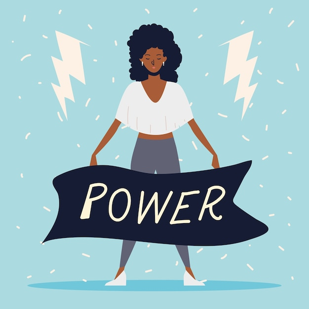 Girl power, afro american woman with power message in ribbon Premium Vector