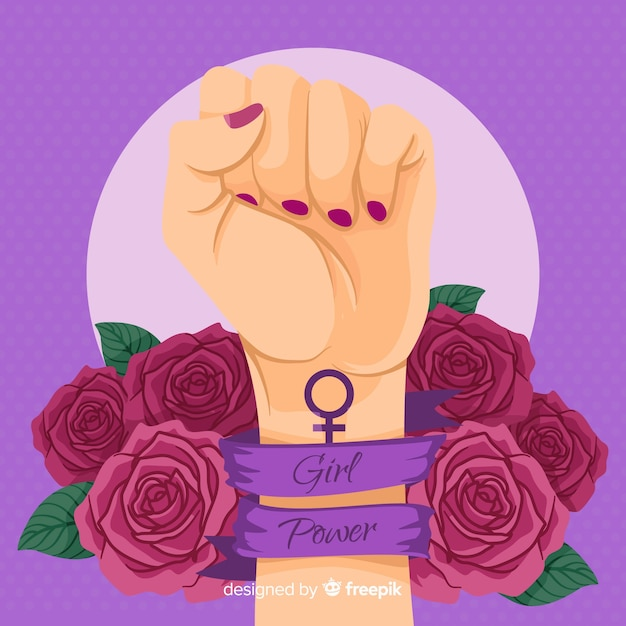 Girl power background Free Vector
