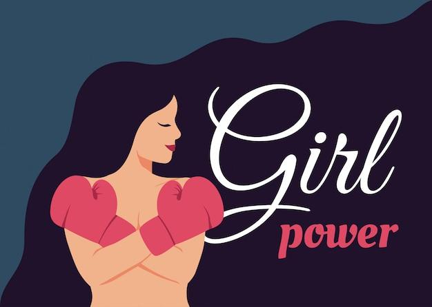 若い女性の女の子の力の概念は、ボクシンググローブで彼女の胸に彼女の腕を渡った。 Premiumベクター