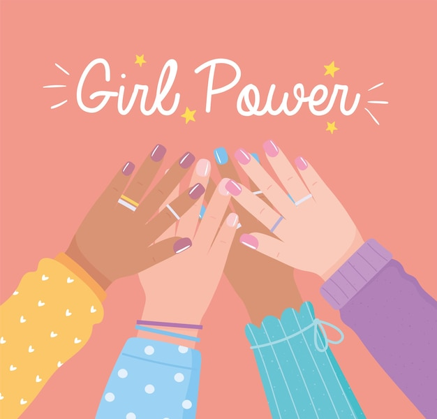 Girl power diverse hands up female togwether, womens day  illustration Premium Vector
