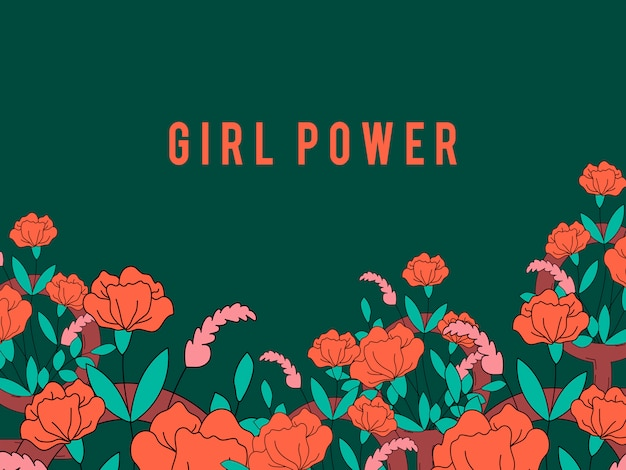 Girl power on floral background vector Free Vector