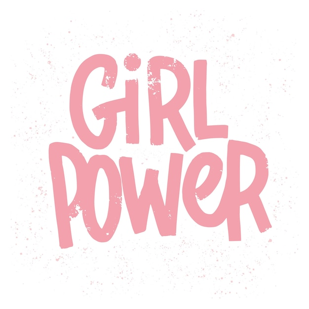 Girl power inscription in pink letters Premium Vector