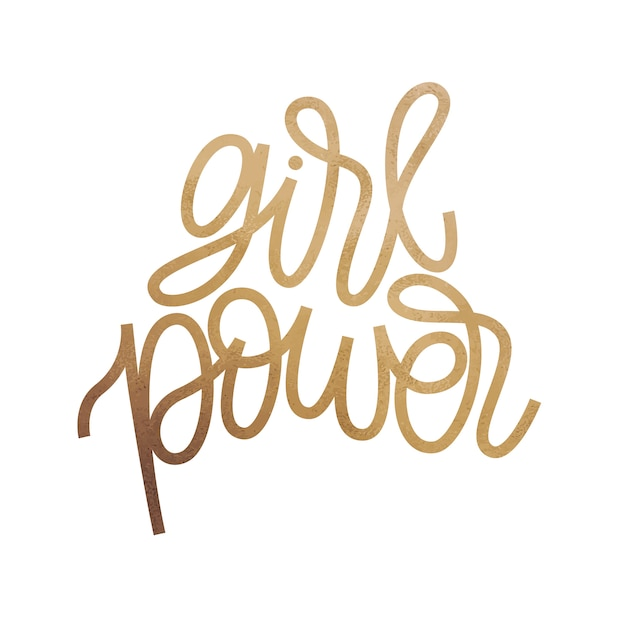 Girl power - inspirational quote design. golden glitter texture. Premium Vector