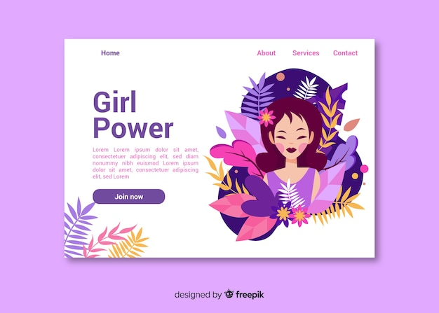 Girl power nature landing page Free Vector