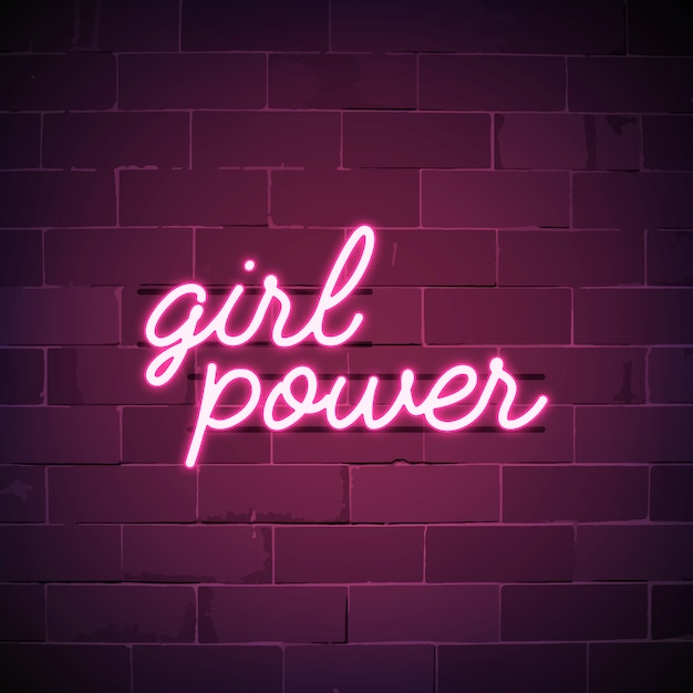 Girl power neon sign vector Free Vector