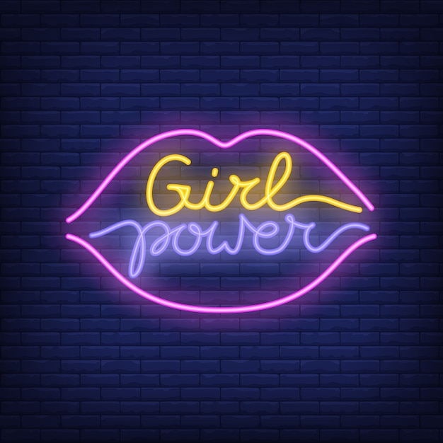 Girl power neon text in lips outline logo. neon sign, night bright advertisement Free Vector