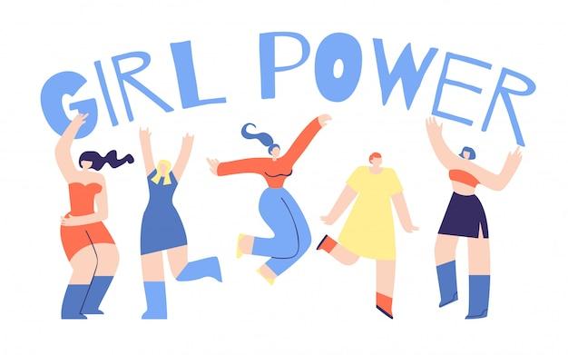 Girl power poster flat character afflation design Premium Vector