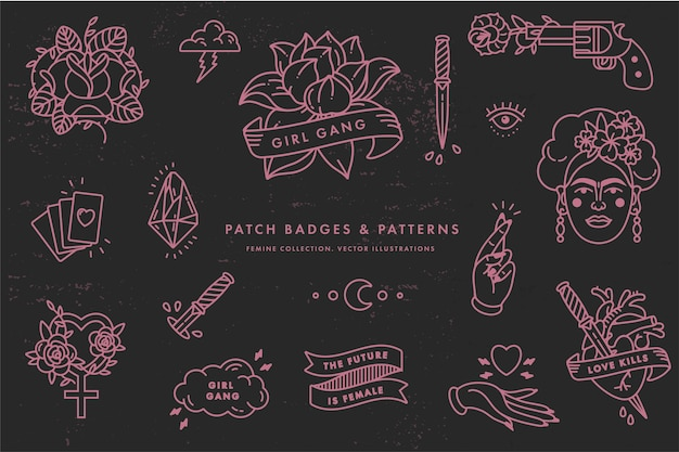 Girl power quote. icon set fashion symbol with portrait of frida kahlo, diamond, roses and feminine symbols. patch badges. stickers, pins. feminism slogan. woman right. Premium Vector