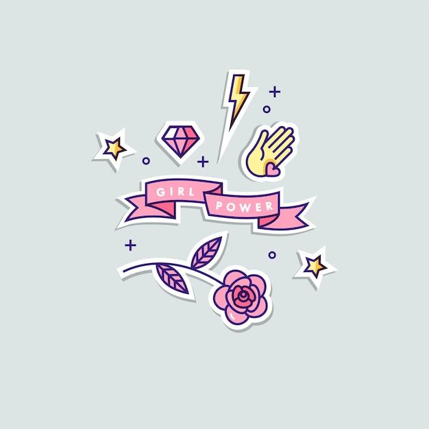 Girl power quote. stickers set doodle illustration. Premium Vector