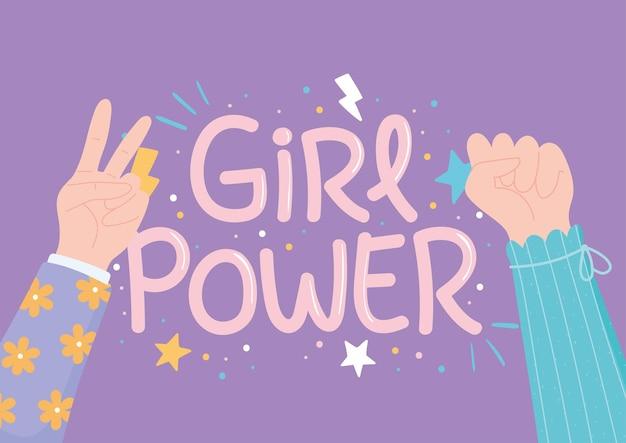 Girl power raised hands female, womens day celebration  illustration Premium Vector