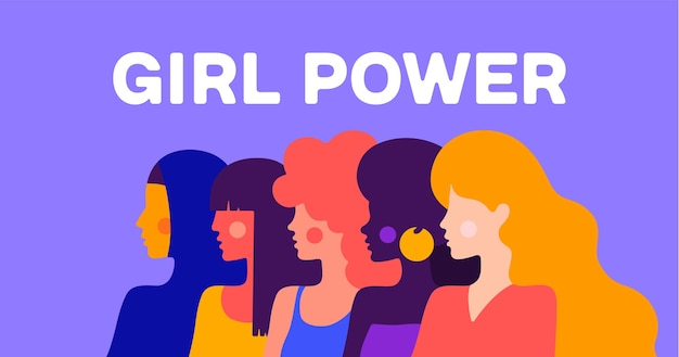 Girl power. simple character of woman lady of different nationalities Premium Vector