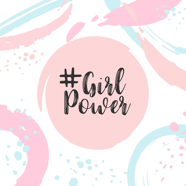 Girl power text cute card with motivational slogan Premium Vector