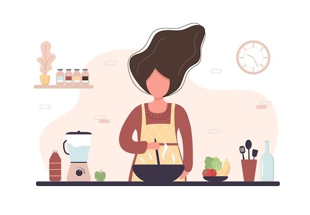ランチやディナーに自家製の食事を準備する女の子 Premiumベクター