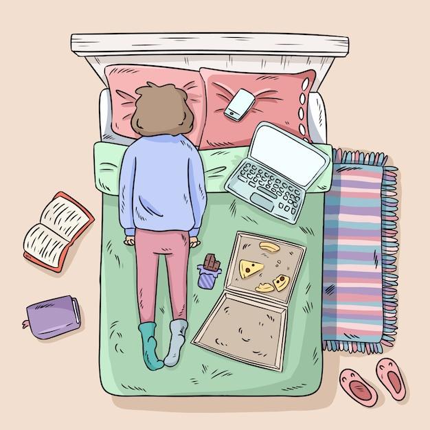 Girl procrastinating on the bed Premium Vector