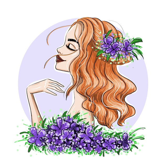 Рыжие девушки с цветком