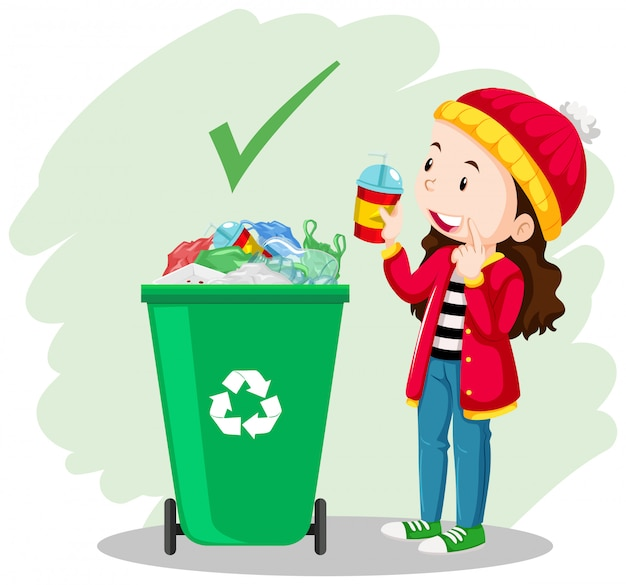 A girl put the glass in the trash can Premium Vector