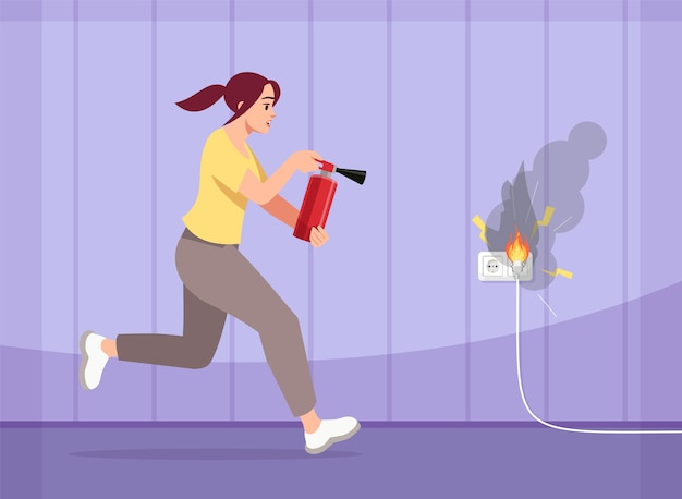 Girl puts out fire semi   illustration. scared young woman with fire extinguisher. house fire. preventive measures. faulty wiring  cartoon characters for commercial use Premium Vector