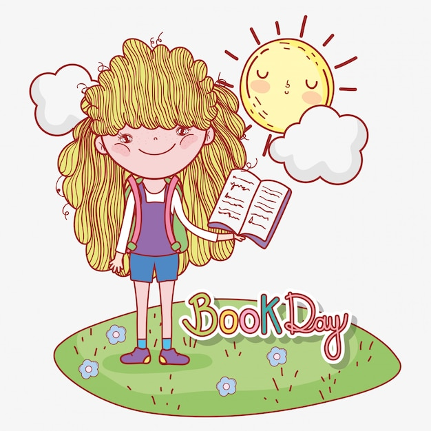 Girl read book information with sun and cloud Premium Vector