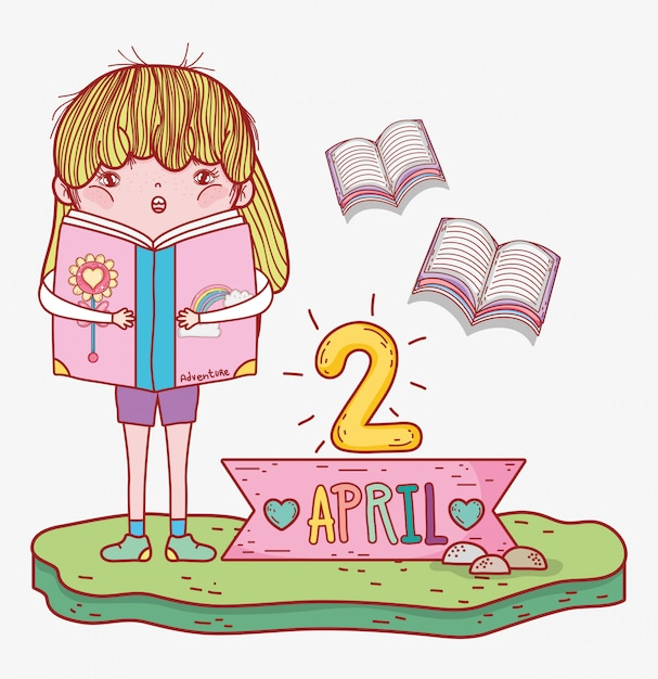Girl read books information to literature day Premium Vector