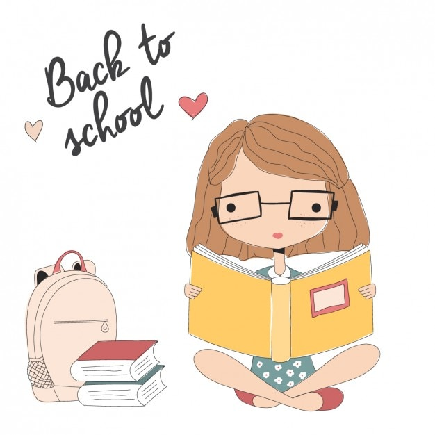 Girl reading background Vector   Free Download